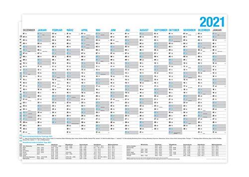 XL Wandkalender 2021 - DIN A3 (29,7 x 40,2 cm) für 14 Monate Dez 2020 - Jan 2022 | Wandplaner mit Ferien- und Feiertage-Übersicht