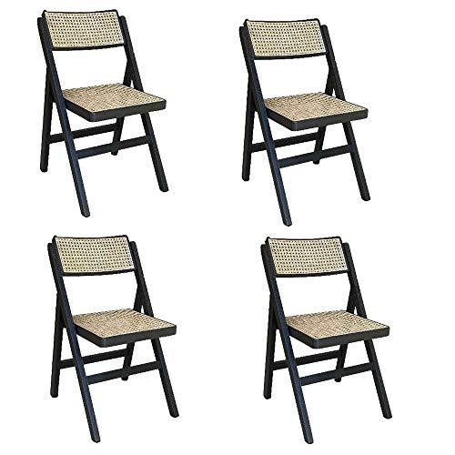 Juego de 4 sillas plegables negras con asiento de paja de Vienna Lux.