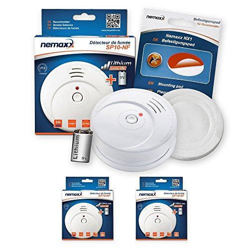 2X Nemaxx SP Rauchmelder Rauchwarnmelder fotoelektrisch nach DIN EN14604 mit 9V Lithiumbatterie mit 10 Jahren Lebensdauer + NX1 Befestigungspad