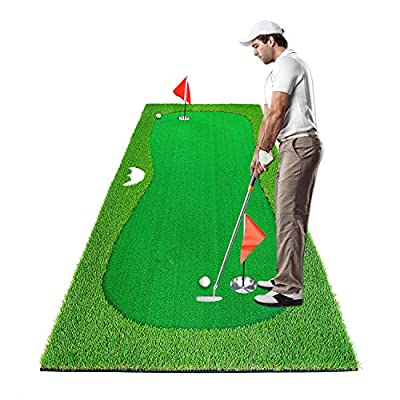 Luricaa Golf Putting Green Mat for Indoor Outdoor, Professional Golf Training Mat Aids for Professional Golf Practice (3.3x10ft Green)