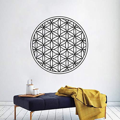 ASFGA Runde geometrische Wandaufkleber Blume des Lebens Vinyl Aufkleber Home Decor Yoga Studio Vinyl Wandplakat Leben Wandkunst 57x57cm