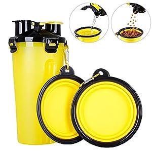 Powerking Botella de Agua para Perro, 350ml 2 en 1 PP para Mascotas, y Botella para Perro con 250 g Contenedor de alimento para Mascotas para Caminar/Viajar, tazones Plegables para Perros(Azul) 3