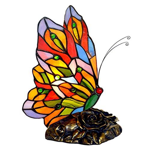Mariposa Tiffany Lámpara De Mesa Pastoral Vitral Escritorio Luz Arte Decoración Lámparas De Noche Luz Nocturna para Niños Dormitorio Sala De Estar Café Mesa Bar