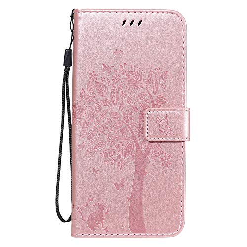 Funda de piel para Xiaomi Redmi Note 10 5G con diseño de animales en árbol plegable, resistente a los golpes, con tarjetero y correa de mano – Oro rosa