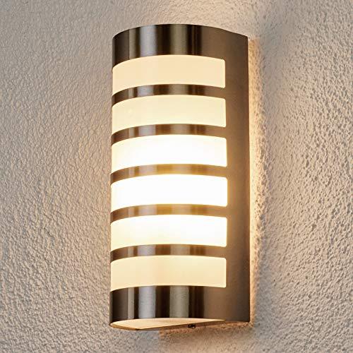 Lindby Edelstahl Wandlampe aussen IP44 | Aussenwandleuchte | Wandleuchte aussen silber | Außenbeleuchtung Wand für Hof, Garten, Terrasse, Balkon, Haus | Aussenleuchte Wand