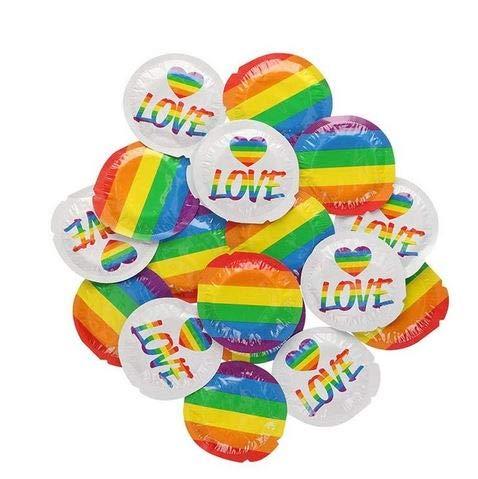 EXS Condoms dun, maar sterk, zijdeachtig latex condooms met regenboogvlag, verpakking 100 stuks, 1300 g