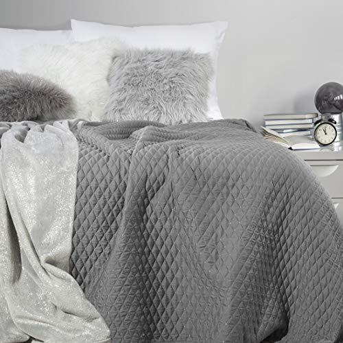 Eurofirany Decke, Bettüberwurf, Tagesdecke, 200x220 cm, Steppung Muster. (Galia Stahl, 170x210 cm), Kunststoff