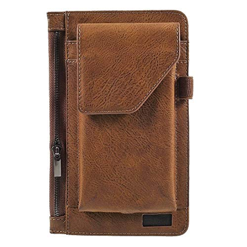 DFV mobile - Cover Vertical Belt Case with Phone Holder Pouch & Inner Pocket with Zipper for ALCATEL One Touch Pop 4 5051X (2016) - Brown