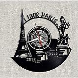 tjxu Moda Creativa Torre Eiffel Disco de Vinilo Negro CD diseño Reloj de Pared Regalo con led No_led