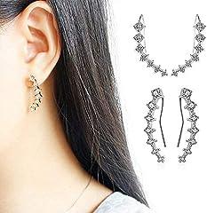 Cabet 7 Crystals Ear Cuffs Hoop Climber Sterling Silver Earrings Hypoallergenic Earring #3