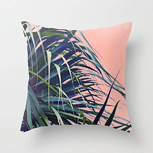 yxr Tropical Plant Polyester Hug Pillowcase Office Fabric Sofa Cushion Cover Home Peach Skin Pillowcase