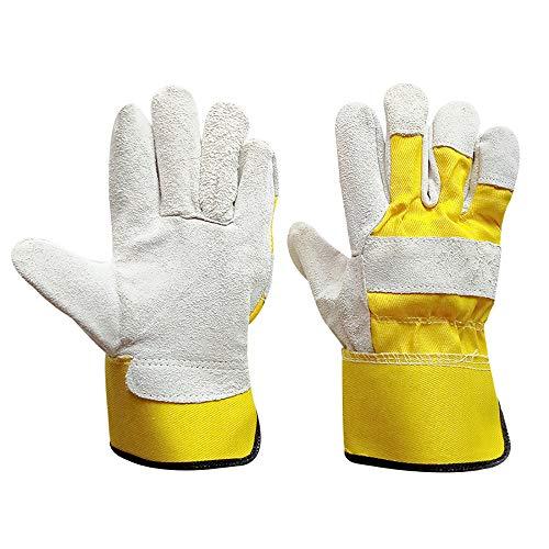 Hui Jin Gartenarbeitshandschuhe, verstärktes Leder, strapazierfähig, Thermo-Handschuhe für Damen und Herren, 2 Paar