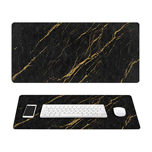 Black Marble Pattern Gold Line Gorgeous Mouse Pads - Large Gaming Mouse Pad - Non-Slip Rubber Rectangle Durable Mouse Pads - Beautiful Office Mouse Pad 15.7 X 27.5 Inch (400mmX700mmX2.5mm)