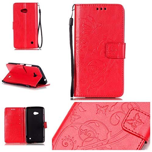 Wenlon - Funda protectora para smartphone, estilo retro, de piel sintética, resistente a los arañazos, diseño de mariposa, compatible con Nokia Lumia 640, color rojo