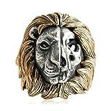 Beydodo 925 Sterling Silber Ring Herren Löwe Schädel Partnerring Silberring Größe 60 (19.1)