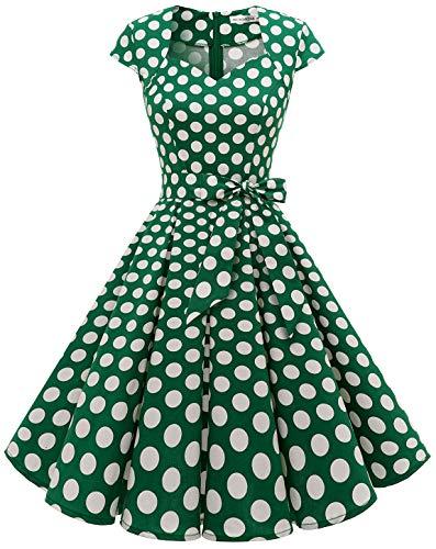 MuaDress Vintage jaren '50 rockabilly retro jurken elegante plooirok met vleugelmouwen
