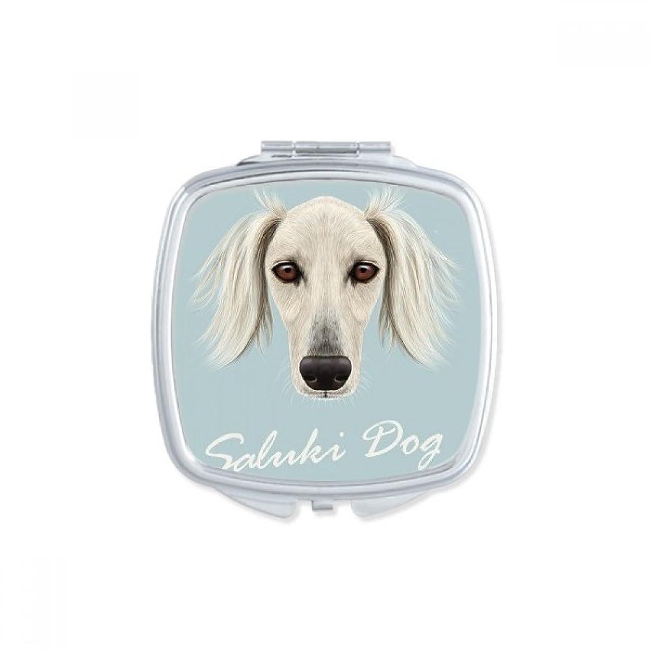 軽元気どこ長い顔の白いサルーキ犬ペット?動物 スクエアコンパクトメークアップポケットミラー携帯用の小さなかわいいハンドミラープレゼント