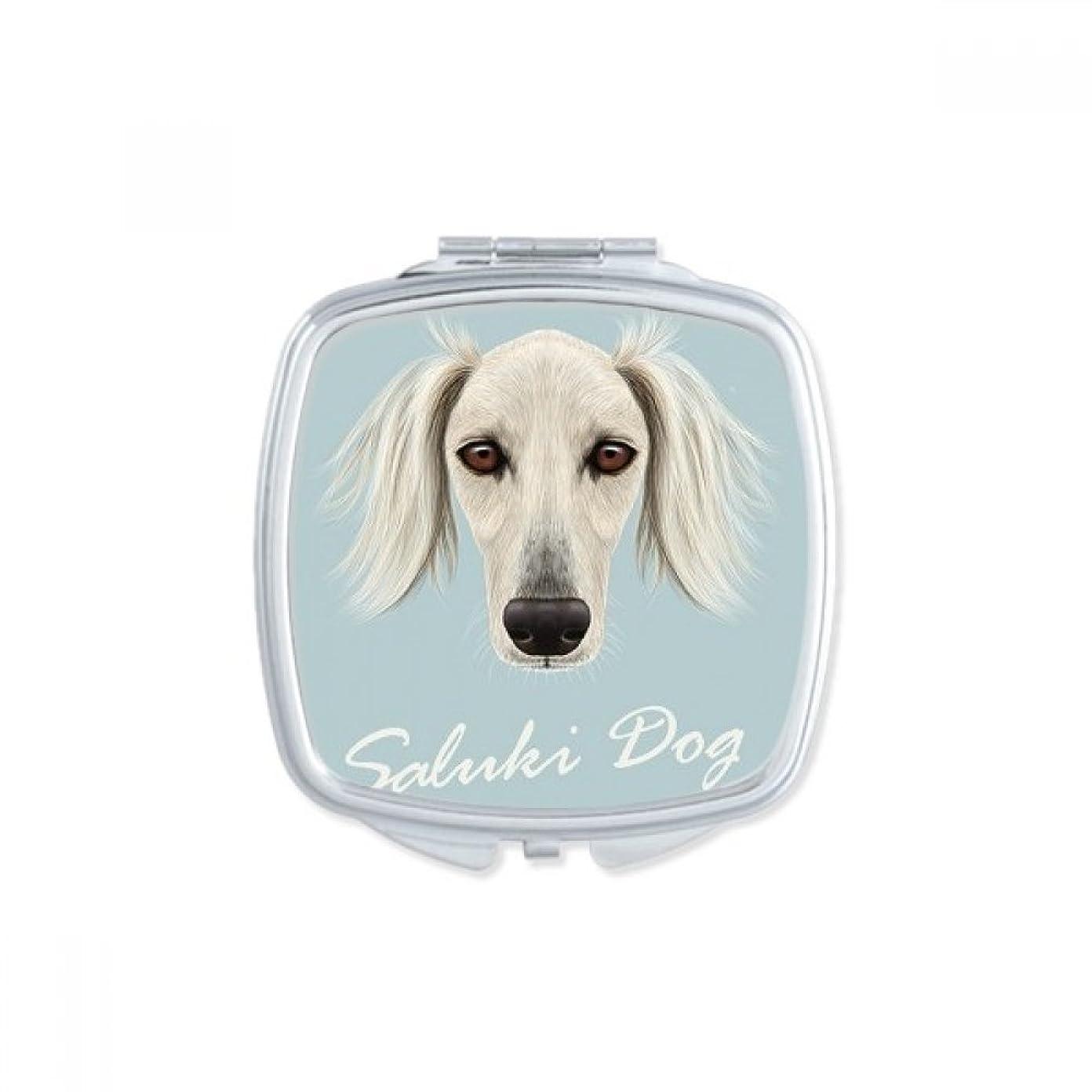 食べるカール電子長い顔の白いサルーキ犬ペット?動物 スクエアコンパクトメークアップポケットミラー携帯用の小さなかわいいハンドミラープレゼント