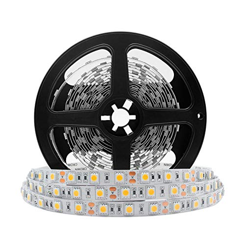 LightingWill Advanced Full Spectrum CRI97 LED Strip Light, Natural Sunlike Spectrum, SMD 5050 300LEDs 16.4Ft/5M Warm White 3000K-3500K DC12V 72W, Non-Waterproof