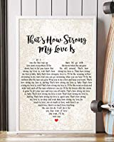 "Matata Decor Gift That's How Strong My Love Is Song 歌詞ポートレートポスタープリント 16"" x 24"""
