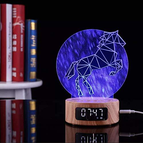 3D Acryl Bluetooth Speaker Light/Unicorn Table Lamp / 7 kleuren LED Light met USB-wekker/Nachtkastje Lamp/TF, Holiday Gift