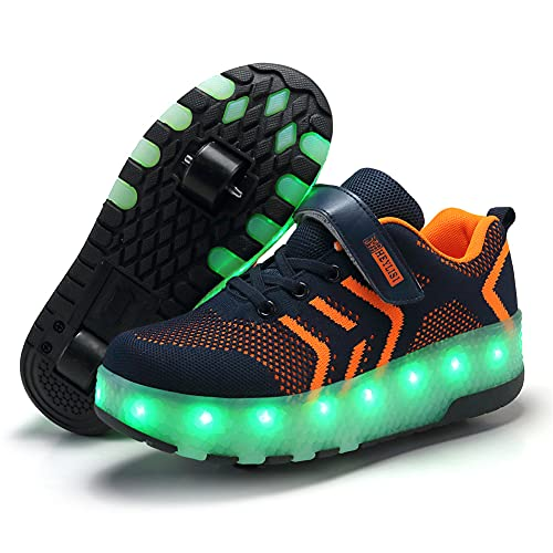 Unisex Kinder LED Double Wheel Technical Rollschuh Schuhe USB 7 Colors Aufladen Blinken Leuchtend Skateboardschuhe Für Jungen Outdoor-Sportarten Gymnastikschuhe Mädchen Mode Rollerblades Sneaker