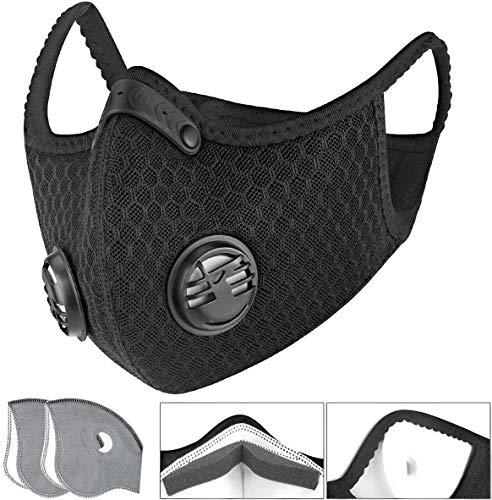 Activated Carbon Filtration Exhaust Gas Unisex Washable Reuseable Breathing Valve Mask Half Face Bike Mask Dustproof Mask