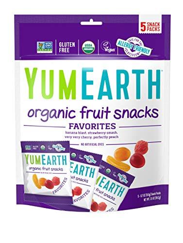 YumEarth Organic Vegan Fruit Snacks, 5 Snack Packs per bag (Pack of 1) - Allergy Friendly, Non GMO, Gluten Free, Vegan (Packaging May Vary)