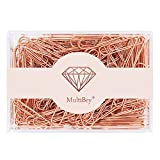MultiBey Rose Gold Paper Clips Non-Skid Smooth Finish Steel Wire Medium Large Size 200pcs 28mm per Box (Rose Gold, 28mm)