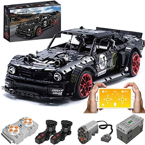 XJJY Modello Tecnico per Auto Sportivo per Ford Mustang, 2,4 g/App RC Racing Car con Telecomando e Motori, 2940 Pezzi Kit di Costruzione Compatibile con Lego Technic