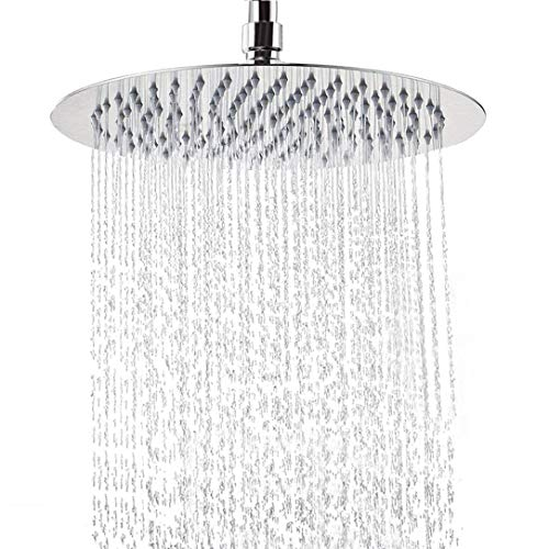 12 Inch Rain Shower Head, NearMoon Large Stainless Steel Bath Shower, Ultra Thin Design Rainfall Booster Showerhead Waterfall Body Covering, Easy to and Install- Ceiling or Wall Mount (Chrome)