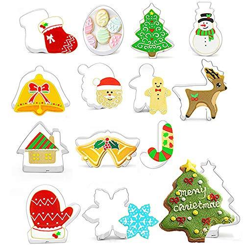 Xinlie Emporte Pieces Patisserie Moule en Biscuit de Biscuit de Type 3D de Noël créatif d'acier Inoxydable Moules Christmas Cookie Cutter Set pour Cuisson Fondant Cookies,Décorations De Gâteau(14 PCS)