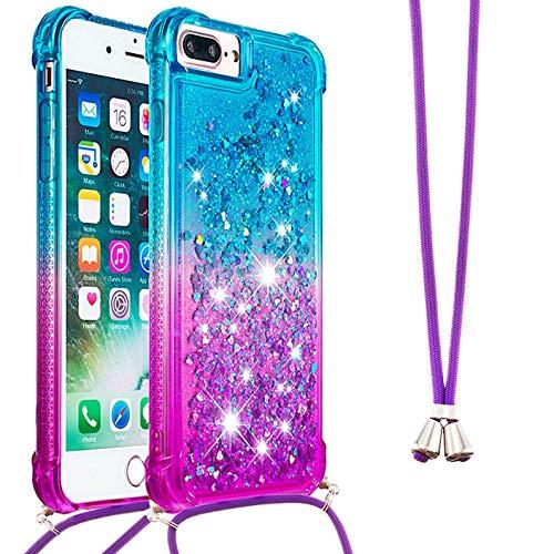 Dclbo – Funda para iPhone 8 Plus/iPhone 7 Plus/iPhone 6 Plus/iPhone 6S Plus, funda de silicona con cordón de cuerda, brillante, líquido, transparente con cadena, Azul y lila.