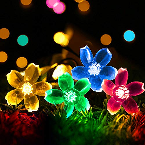 Solar Lichterkette Aussen 5 Meter 50 LED Solar LED Lichterkette LED Gartenbeleuchtung Solar Außen Wasserdicht Kristall Kugeln Garten Licht für Garten, Balkon, Party, Festen (Farbe)