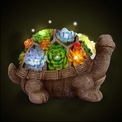 Herefun Statue da Giardino, Statuetta Ornamentale per Giardino con Luci LED, Statua da Giardino in Resina Impermeabile, Turtle Ornamenti da Giardino per Primavera ed Estate Prato da Giardino (Tipo 1)