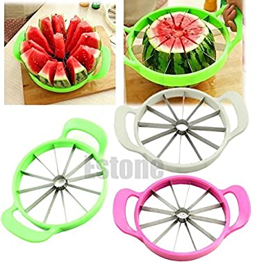 XENO-Stainless Steel Watermelon Cutter Melon Cantaloupe Slicer Kitchen Fruit Divider