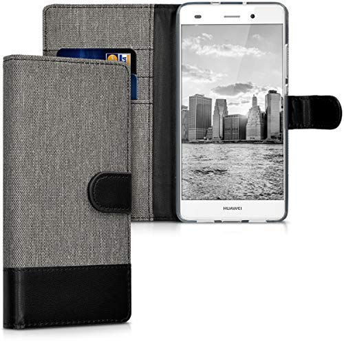 kwmobile Hülle kompatibel mit Huawei P8 Lite (2015) - Kunstleder Wallet Case mit Kartenfächern Stand in Grau Schwarz