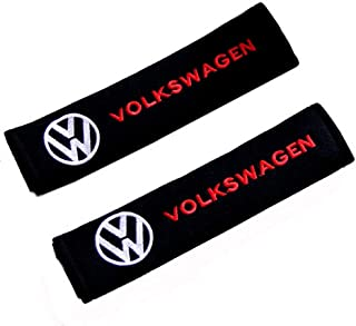 Altergo Seat Belt Covers for Volkswagen Cars Embroidered Badge Adults and Children Shoulder Pad Opening Acrylic 2 Pack