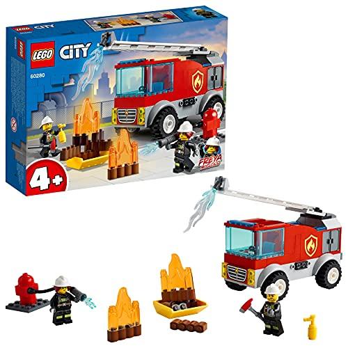 LEGO 60280 City LeCamiondesPompiersavecéchelle avec Mini Figurine de Pompier pour Les garçons et Les Filles de 4 Ans et Plus