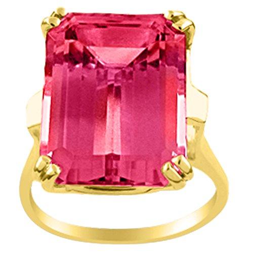 Anillo de cuarzo rosa 14K oro amarillo o 14K oro blanco