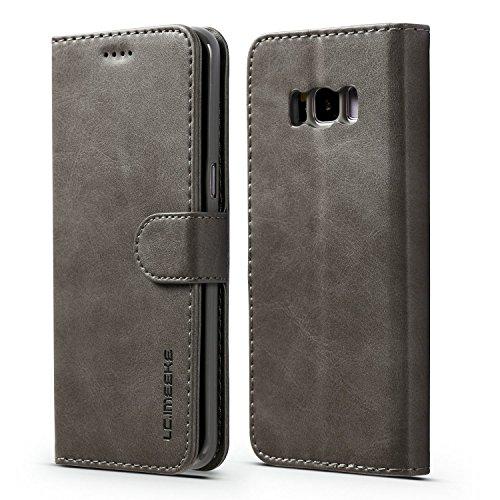 yanzi Funda Samsung Galaxy S8 Plus Funda Carcasa Silicone Case Samsung S8 Plus Funda Protectora Gris móvil Cover Libro Caso Cubierta Magnética Billetera Cuero Samsung S8 Plus Carcasa