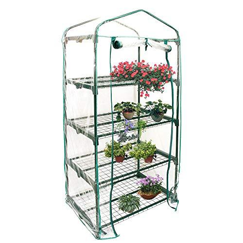 Serre de jardin couverture 4 étages, Housse serre de jardin 152 x 67 x 51 cm, Couverture serre en PVC respirante imperméable pour cultiver des légumes fleures plantes herbes (A)