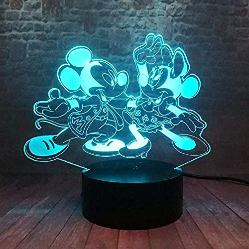 Nachtlampje 3D Illusie Licht Dans Mickey Mouse Anime Model 3D Nachtlampje Led 7 Kleur Mickey -7 Kleuren