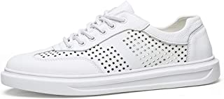 Men's Breathable Mesh Sneakers Fashion Monotonous Sports Shoes Lace Up Microfiber Speed Round Toe Wear Resisting casual shoes (Color : White, Size : 42 EU)