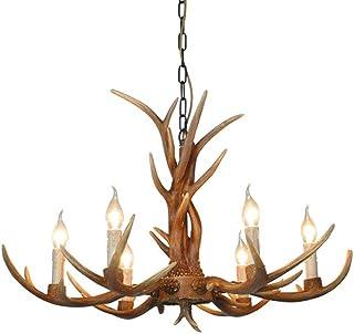 Lámpara de araña de 6 cabezas, con cuernos de ciervo