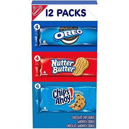butter snack cookies Nabisco Cookie Variety Pack, OREO, Nutter Butter, CHIPS AHOY!, 12 Snack Packs