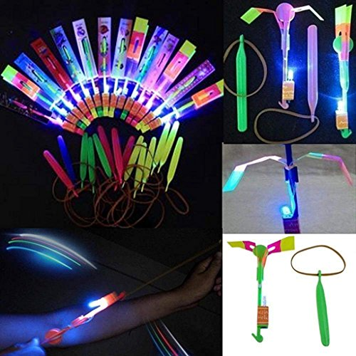 Habelyi 25PCS Amazing Led Light Arrow Rocket Helicopter Flying Toy Party Fun Gift Elastic Slingshot Flying Copters Birthdays Thanksgiving Day Christmas Day Outdoor Game for Kids