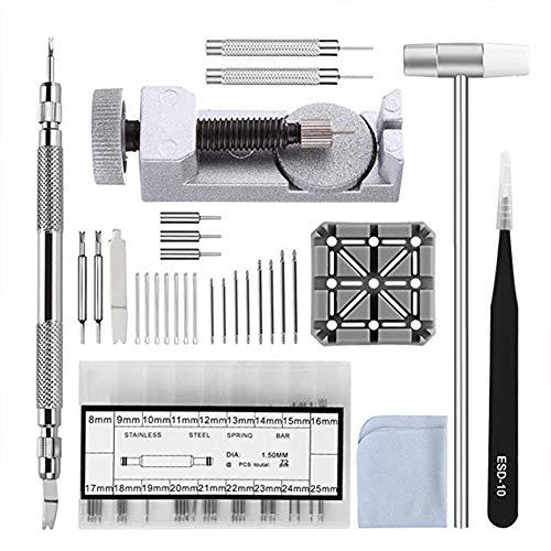 Kit de extracción de eslabones de reloj herramienta de ajuste de correa pulsera de resorte barra de pasador Martillo para relojeros nuevo