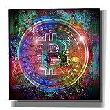 Epic Graffiti Bitcoin Wallet Giclee Canvas Wall Art, Purple