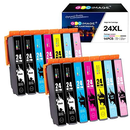 GPC Image Kompatibel Druckerpatronen Ersatz für Epson 24XL 24 XL für Expression Photo XP-55 XP-750 XP-760 XP-850 XP-860 XP-950 XP-960 Drucker (4 Schwarz/2 Cyan/2 Magenta/2 Gelb/2 LC/2 LM, 14-Pack)